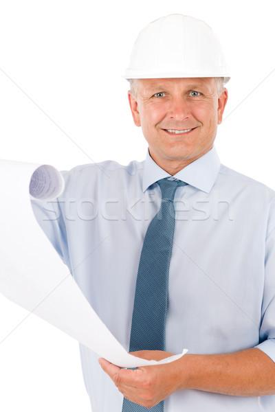 Foto stock: Senior · profissional · arquiteto · masculino · capacete · blueprints