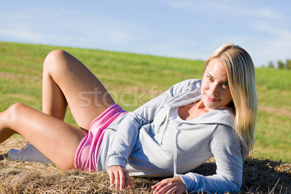 расслабиться сено портрет девушки трава Сток-фото © CandyboxPhoto