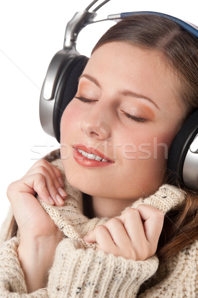 Foto stock: Retrato · feliz · mulher · música · fones · de · ouvido