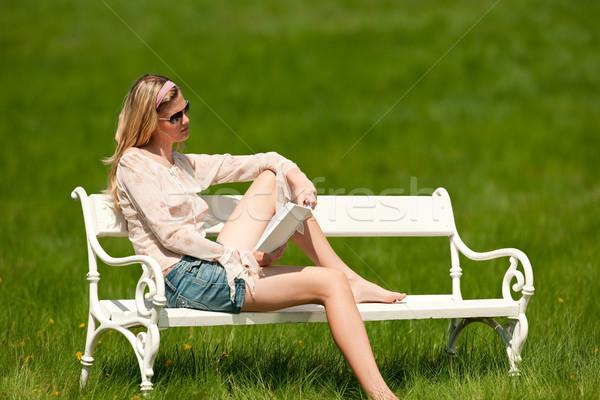 Tavasz nyár fiatal nő megnyugtató legelő fehér Stock fotó © CandyboxPhoto