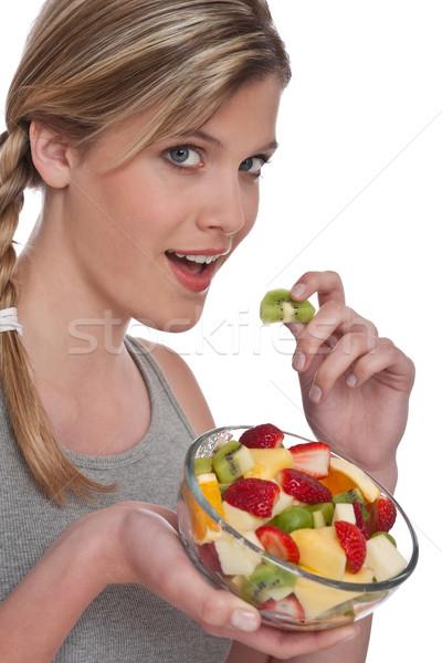 женщину фруктовый салат белый клубника женщины Сток-фото © CandyboxPhoto