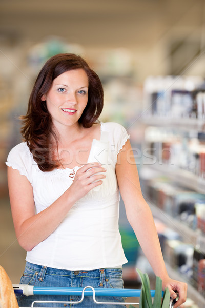 Stockfoto: Winkelen · bruin · haar · vrouw · kopen · shampoo · schoonheid