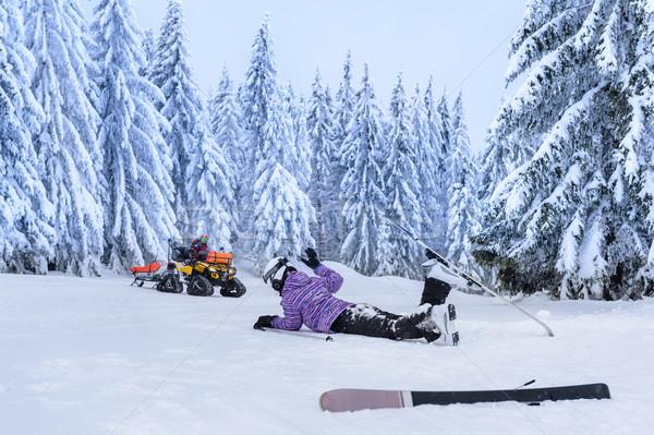 Ferido esquiador acidente espera resgatar montanha Foto stock © CandyboxPhoto
