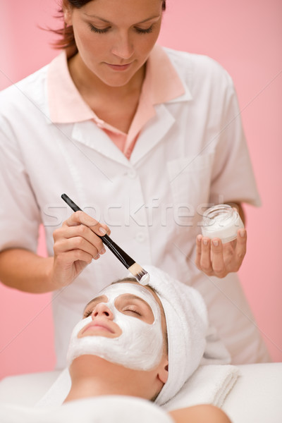 Facial mask - woman at beauty salon Stock photo © CandyboxPhoto
