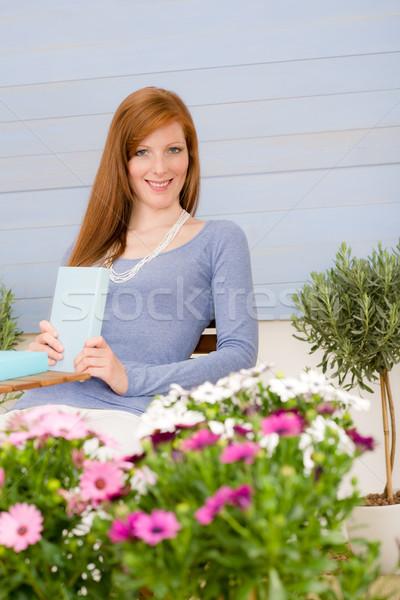Сток-фото: лет · терраса · женщину · расслабиться · саду