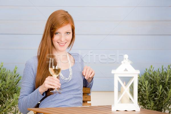 Lata taras kobieta szkła wina Zdjęcia stock © CandyboxPhoto