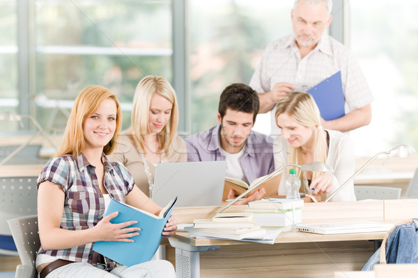 Group of high-school students with mature professor Stock photo © CandyboxPhoto