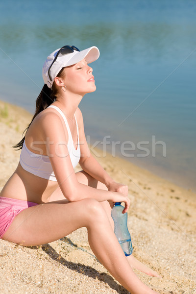 Summer sport fit woman enjoy sunset Stock photo © CandyboxPhoto