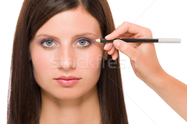 Professional makeup model artist make eye lines Stock photo © CandyboxPhoto