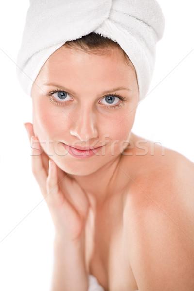 Photo stock: Corps · soins · belle · femme · serviette · blanche · sourire