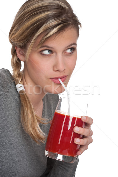 Healthy lifestyle series - Woman with tomato juice Stock photo © CandyboxPhoto