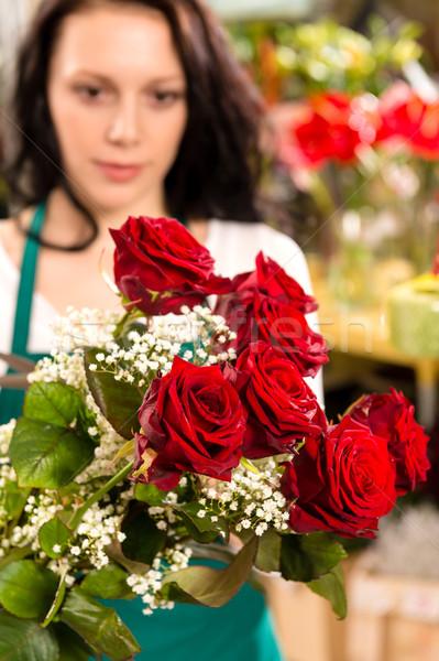 Young woman making flower bouquet florist shop Stock photo © CandyboxPhoto