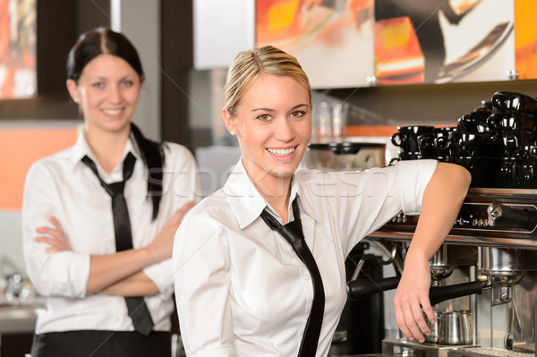 Two waitresses posing in coffee house Stock photo © CandyboxPhoto