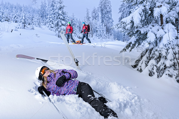 Injured skier after accident waiting for rescue Stock photo © CandyboxPhoto
