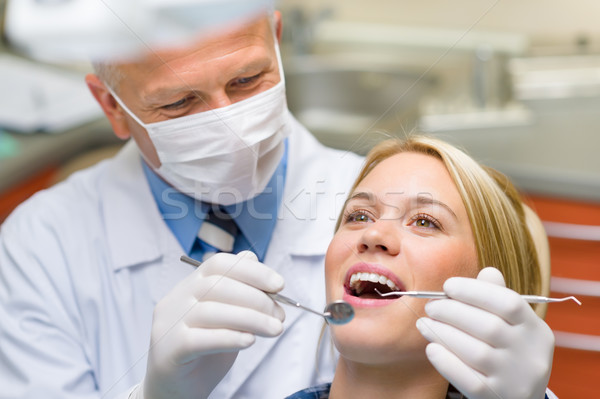 Healthy teeth patient at dentist office Stock photo © CandyboxPhoto