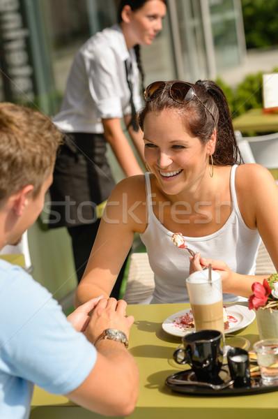 Couple enjoy coffee dessert restaurant terrace Stock photo © CandyboxPhoto