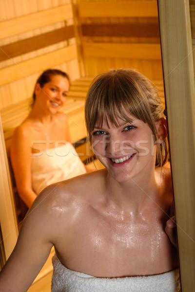 Woman posing at sauna in health spa Stock photo © CandyboxPhoto