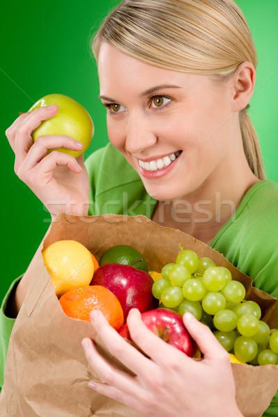 Stok fotoğraf: Kadın · meyve · alışveriş · yeşil