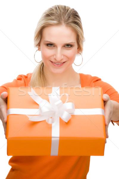 Vorliegenden Frau Feier halten glücklich jungen Stock foto © CandyboxPhoto
