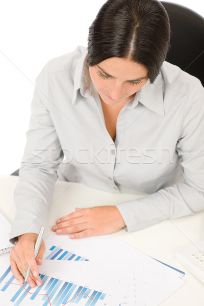 Successful business woman at office with charts Stock photo © CandyboxPhoto
