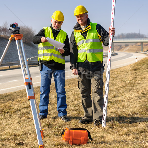 Geodesist two man theodolite stand highway   Stock photo © CandyboxPhoto