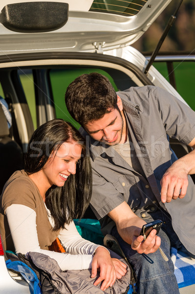 Camping car happy couple look camera sunset Stock photo © CandyboxPhoto