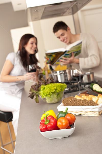 Pareja cocina receta libro de cocina Foto stock © CandyboxPhoto