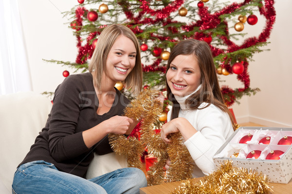 Two smiling women with Christmas decoration Stock photo © CandyboxPhoto