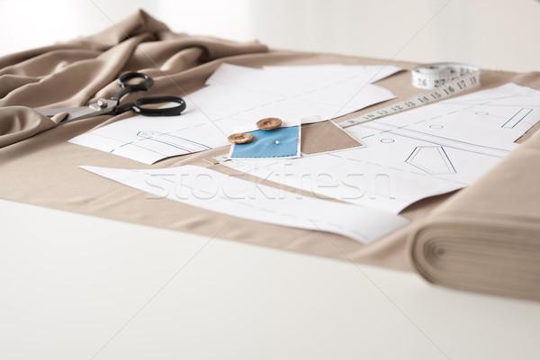 Divat designer stúdió profi felszerlés asztal Stock fotó © CandyboxPhoto