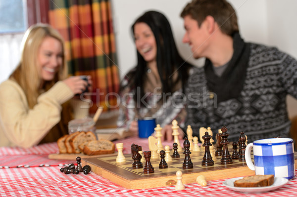 Playing chess winter chalet friends laughing Stock photo © CandyboxPhoto