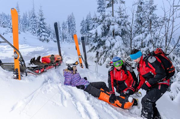 Esquiar equipe resgatar mulher perna quebrada esquiador Foto stock © CandyboxPhoto