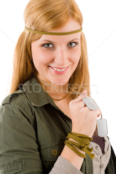 Hippie young woman in khaki outfit hold dog-tag Stock photo © CandyboxPhoto