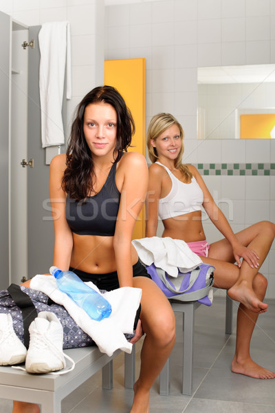Locker room two sportive women sitting fitness Stock photo © CandyboxPhoto