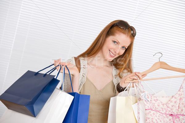 Zdjęcia stock: Moda · zakupy · szczęśliwy · kobieta · worek · sukienka