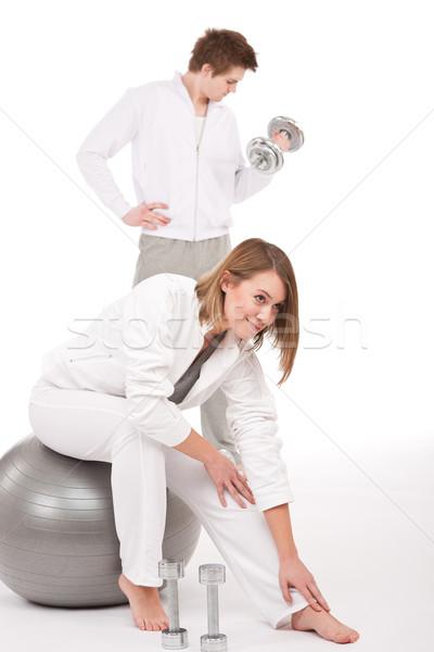 Stockfoto: Fitness · opleiding · gewichten · bal · jonge