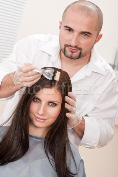 Foto stock: Profesional · peluquero · color · cliente · salón · masculina