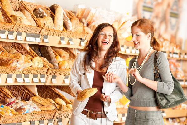 Foto stock: Mercearia · duas · mulheres · escolher · pão · mulheres