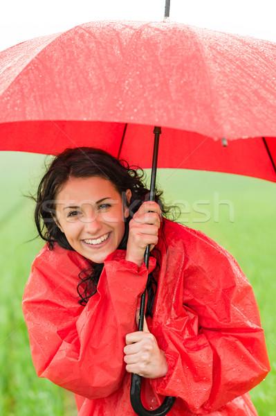 ıslak genç kız yağış miktarı şemsiye yağmurluk Stok fotoğraf © CandyboxPhoto