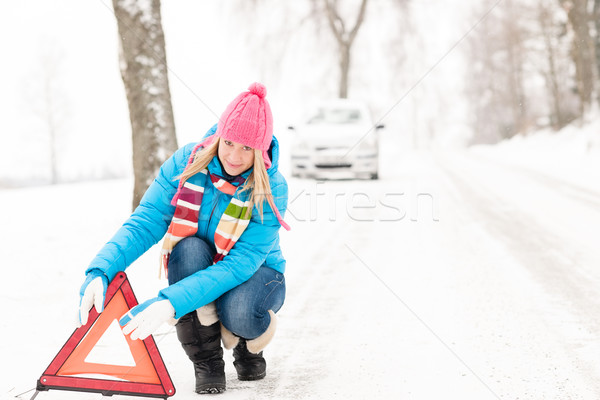 Woman put warning triangle car breakdown winter Stock photo © CandyboxPhoto