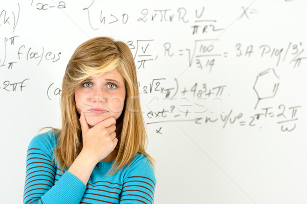 Desperate student girl front of maths board Stock photo © CandyboxPhoto