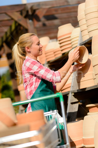 Garden center woman with clay pots cart Stock photo © CandyboxPhoto