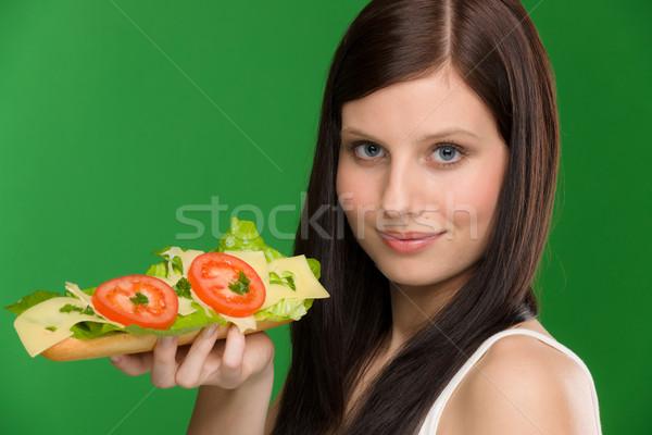 Kobieta cieszyć się ser kanapkę pomidorów Zdjęcia stock © CandyboxPhoto