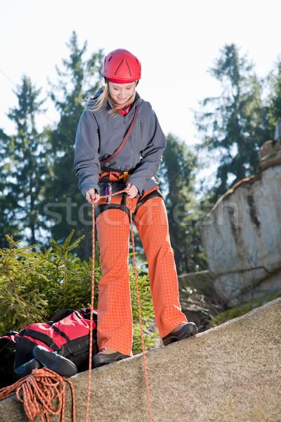 Actief vrouw rotsklimmen touw jonge vrouw Stockfoto © CandyboxPhoto