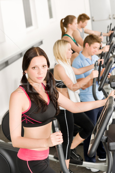 Stock fotó: Fitnessz · fiatal · csoport · kereszt · edző · egészség