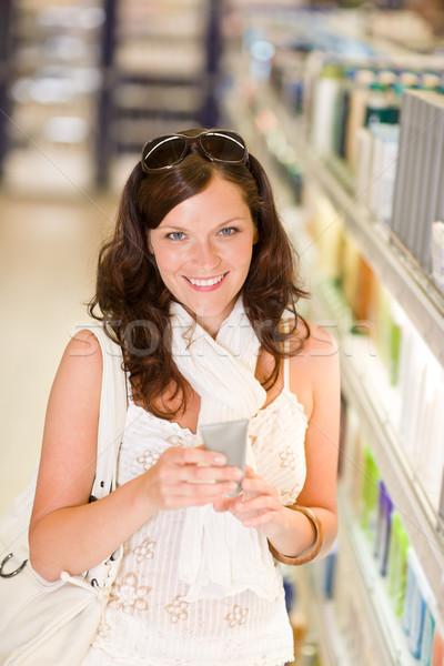 Zdjęcia stock: Zakupy · kosmetyki · uśmiechnięta · kobieta · supermarket