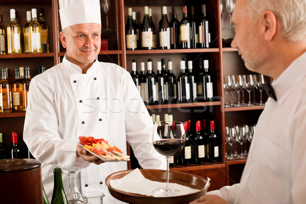 Chef cook with tapas on tray restaurant Stock photo © CandyboxPhoto