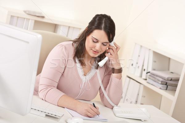 Foto stock: Jóvenes · secretario · teléfono · moderna · oficina · ordenador