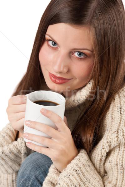 Kış portre mutlu kadın fincan Stok fotoğraf © CandyboxPhoto