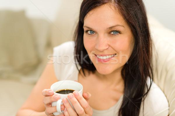 Gülen memnun kadın fincan espresso Stok fotoğraf © CandyboxPhoto