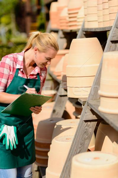 саду центр женщину написать отмечает глина Сток-фото © CandyboxPhoto